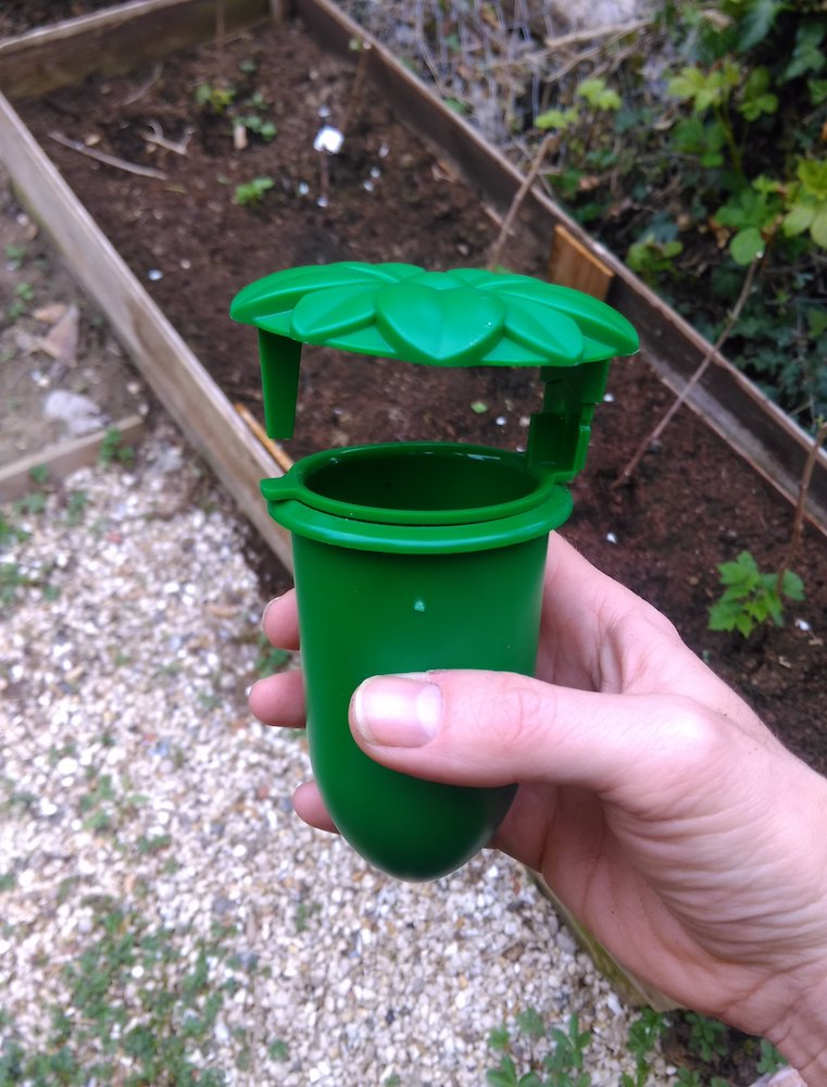 Green plastic beer trap for slugs