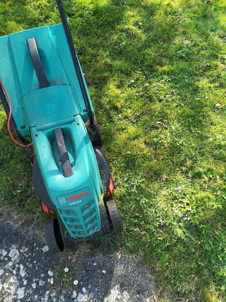 My Bosch electric lawnmower